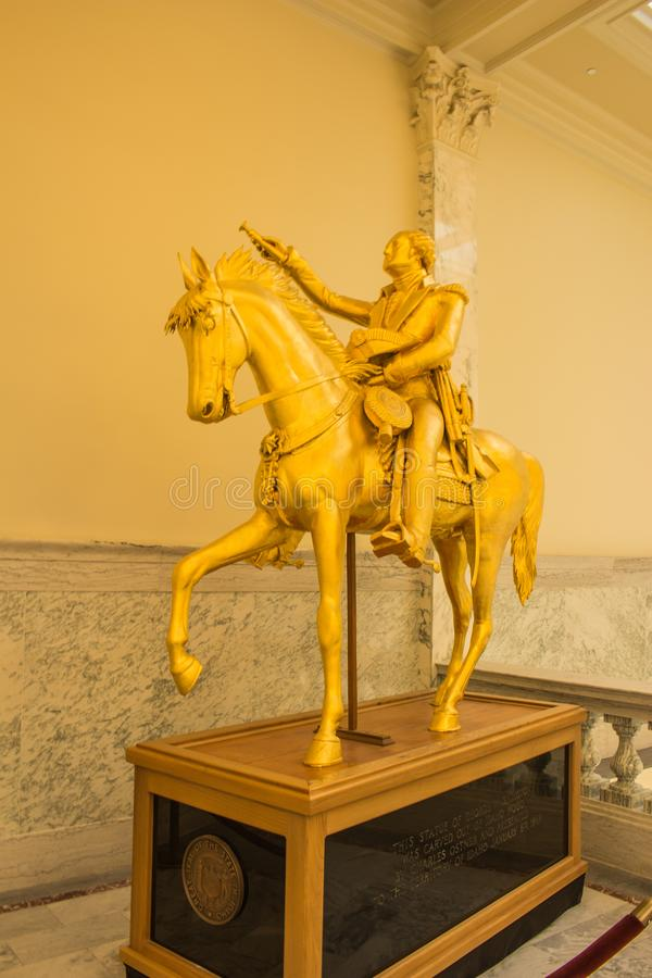 George Washington Equestrian Statue located in the Idaho State Capitol Building. Carved in 1869 stock image