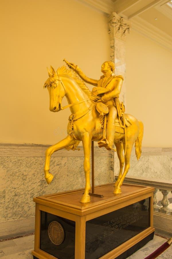 George Washington Equestrian Statue lokaliserade i byggnaden för den Idaho statKapitolium fotografering för bildbyråer