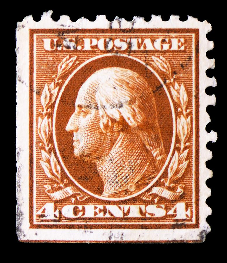 George Washington 1732-1799, first President of the U.S.A., 1908-1910 Regular Issue - Franklin and Washington Profiles serie, stock photography