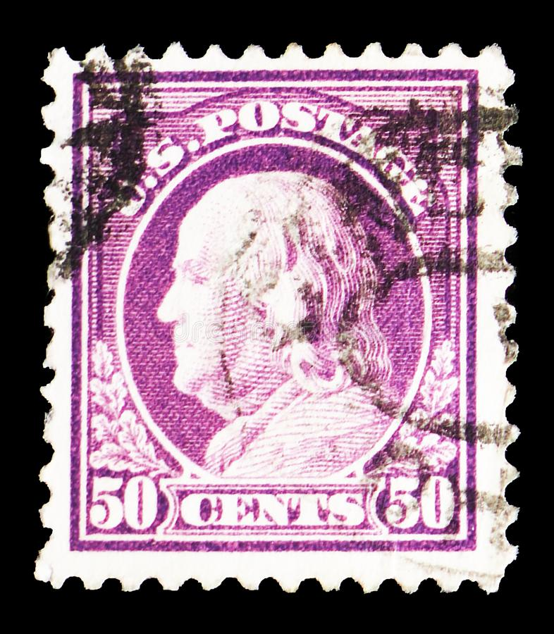 George Washington 1732-1799, first President of the U.S.A., 1908-1910 Regular Issue - Franklin and Washington Profiles serie, stock photo