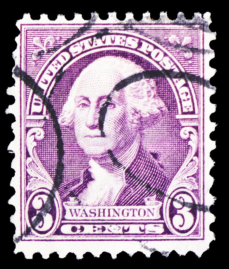 George Washington, by Gilbert Stuart, Regular Issue serie, circa 1932. MOSCOW, RUSSIA - MARCH 30, 2019: A stamp printed in United States shows George Washington royalty free stock photo