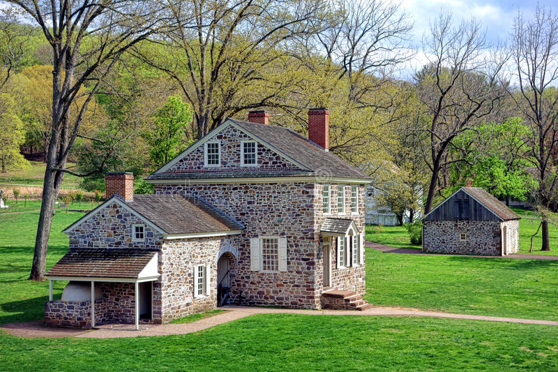 George Washington Headquarters at Valley Forge. George Washington Headquarters of the American Revolutionary War Continental Army encampment in Isaac Potts field royalty free stock image