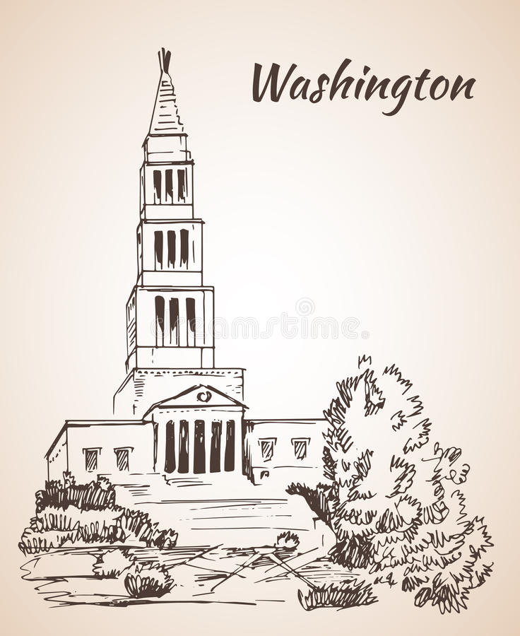 George Washington Masonic National Memorial - EUA ilustração royalty free