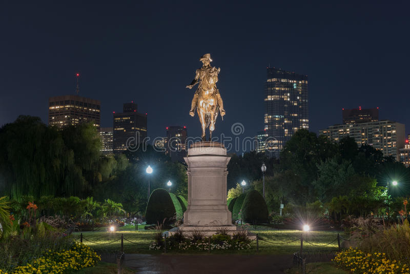 George Washington Monument - Boston. George Washington Equestrian Statue at night in the Public Garden in Boston, Massachusetts royalty free stock photos