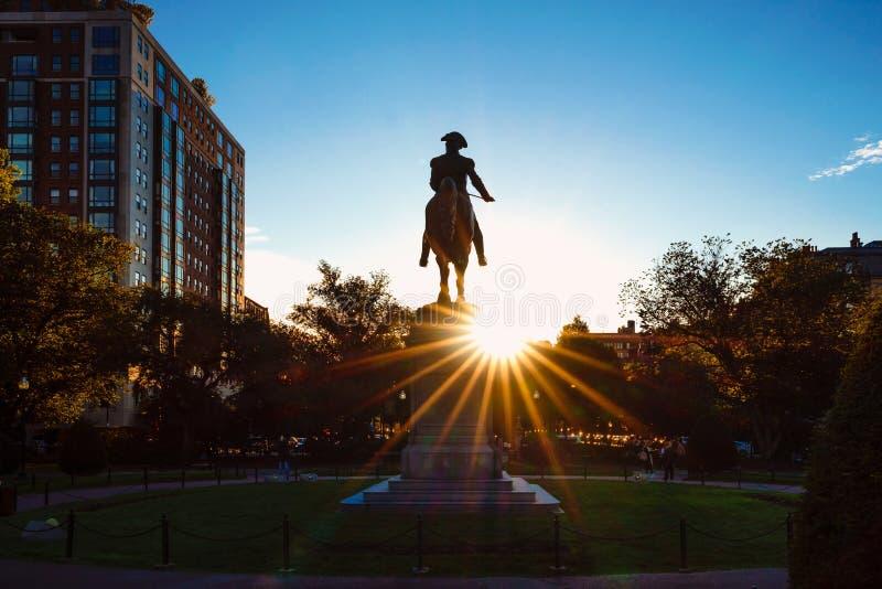 George Washington monument. At Public garden in Boston Massachusetts USA royalty free stock photos