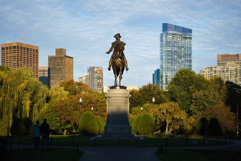 George Washington monument. At Public garden in Boston Massachusetts USA stock image