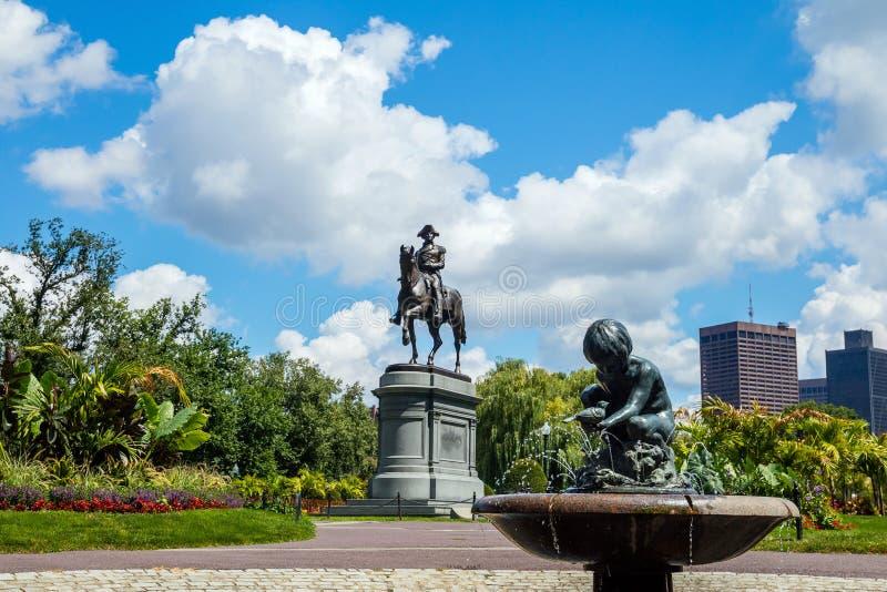 George Washington monument in Public Garden Boston stock photo