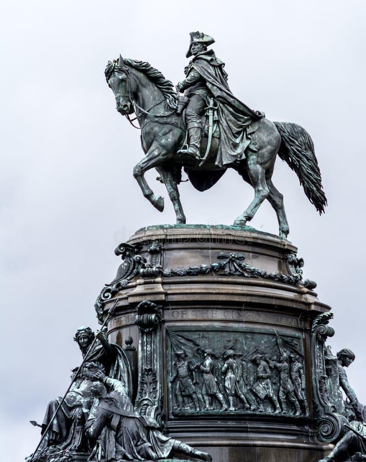 George Washington op een regenachtige dag in Philadelphia royalty-vrije stock afbeeldingen