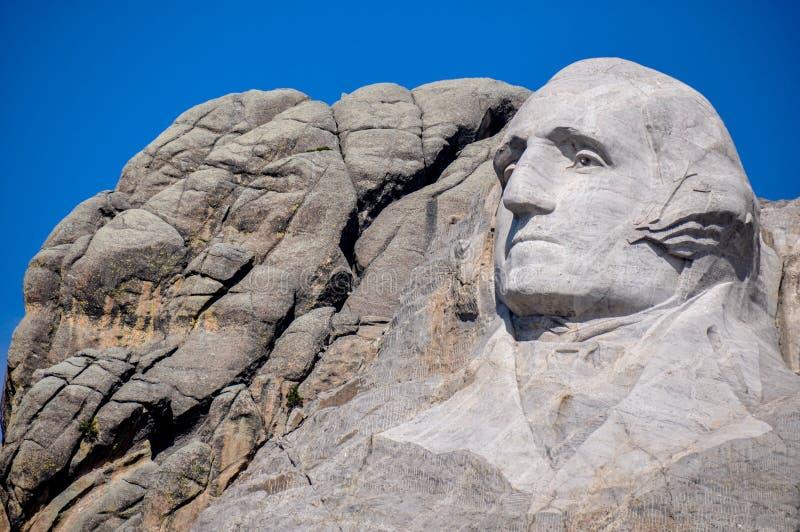 George Washington op het Nationale Monument van Onderstelrushmore, Zuiden Dak stock afbeelding