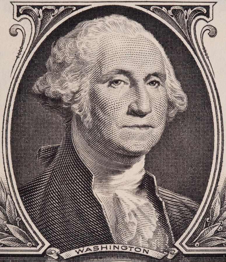 George Washington-Porträt auf wir ein Dollarscheinmakro, Geldnahaufnahme Vereinigter Staaten stockfotografie