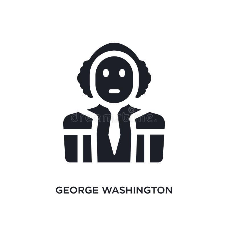 George Washington preto isolou o ícone do vetor ilustração simples do elemento dos ícones do vetor do conceito de Estados Unidos  ilustração do vetor