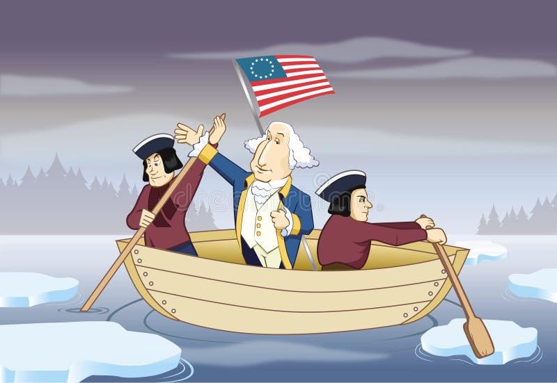George Washington que cruza o rio de Delaware ilustração do vetor