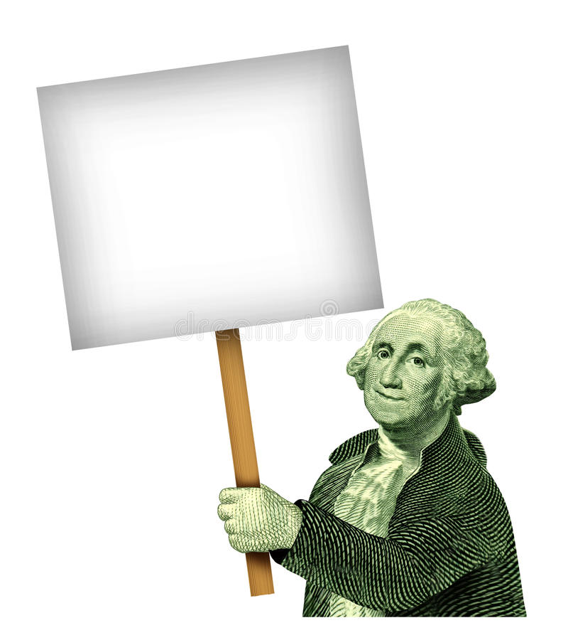 George Washington que prende o sinal de A ilustração stock