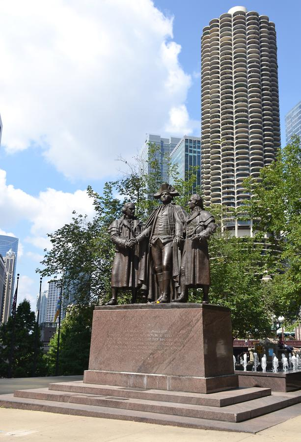 George Washington, Robert Morris, estatua de Haym Salomon Memorial, Chicago, Illinois imagen de archivo libre de regalías