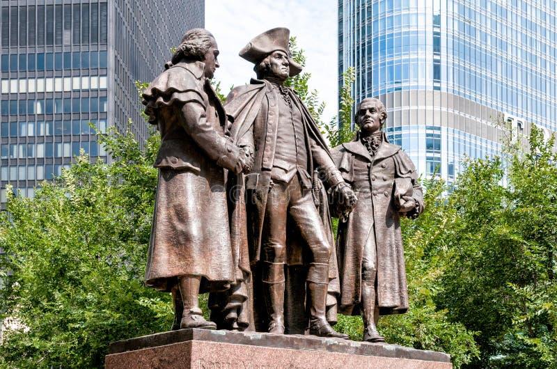 George Washington Robert Morris, Haym Salomon Memorial royaltyfri bild