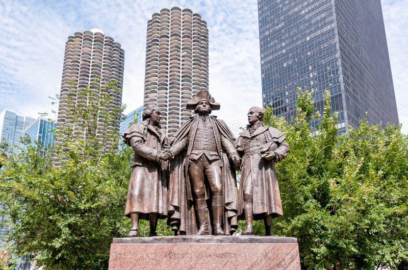 George Washington, Robert Morris, Haym Salomon pomnik fotografia royalty free