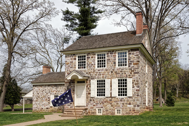 George Washington`s Headquarters at Valley Forge. This house at the Valley Forge National Historical Park was George Washington`s winter headquarters.Here the royalty free stock images