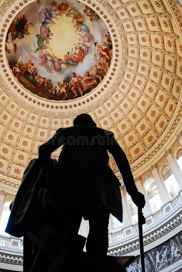 George Washington sotto la cupola del Campidoglio immagini stock libere da diritti