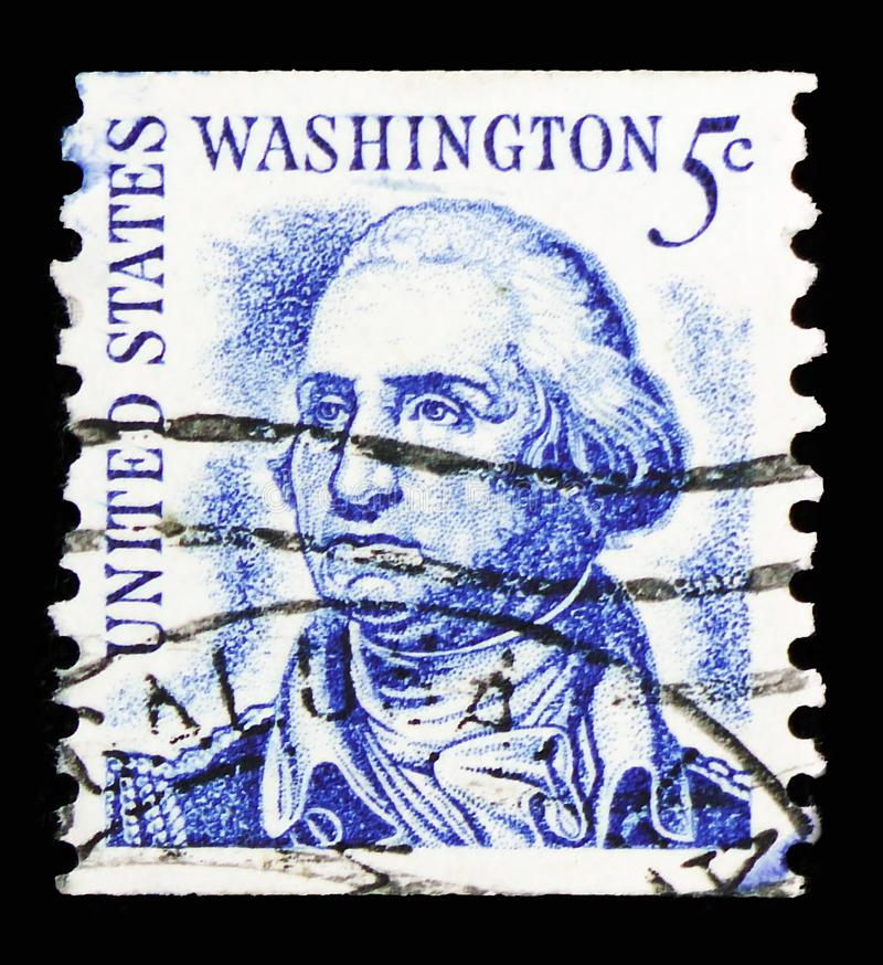 George Washington (1732-1799), 1st President, Famous Americans serie, circa 1966 royalty free stock image