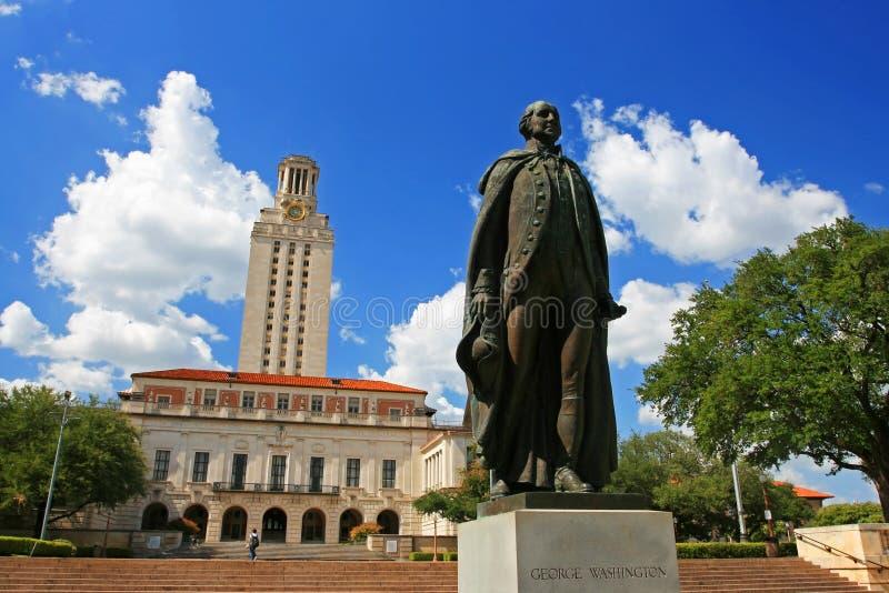 George Washington-standbeeld bij Universiteit van Texas stock fotografie