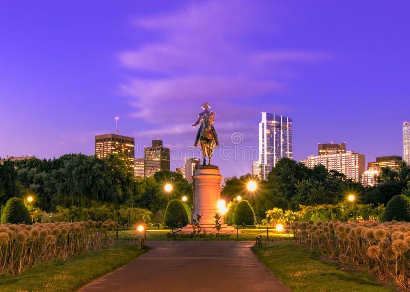 George Washington Statue bij de Openbare Tuin van Boston stock afbeelding