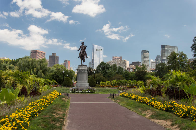 George Washington Statue Boston offentlig trädgård royaltyfri foto
