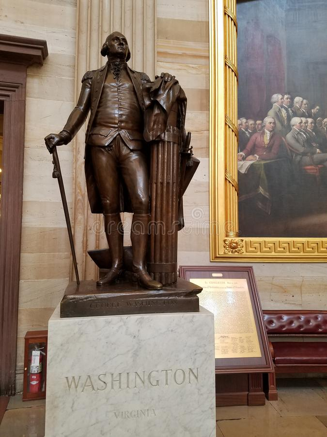 George Washington Statue in de Hoofdrotonde van de V.S. stock fotografie