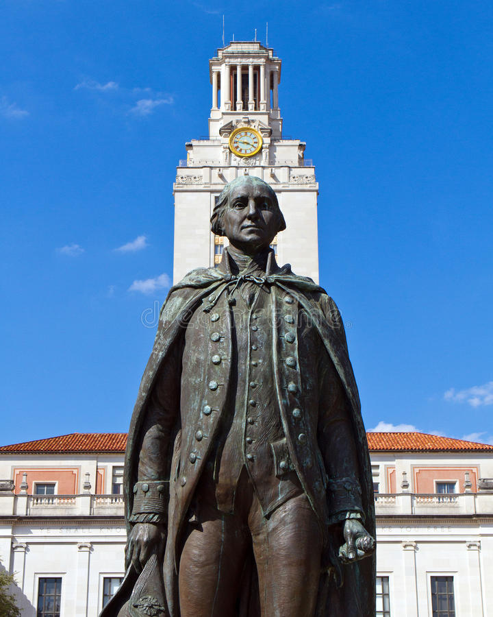 George Washington statue. In front of the clock tower of the University of Texas' Main Building in Austin royalty free stock photography