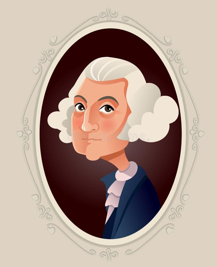 George Washington Vector Caricature Illustration stock illustratie