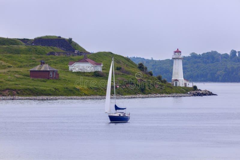 Georges Island Lighthouse in Halifax, Nova Scotia royalty-vrije stock foto