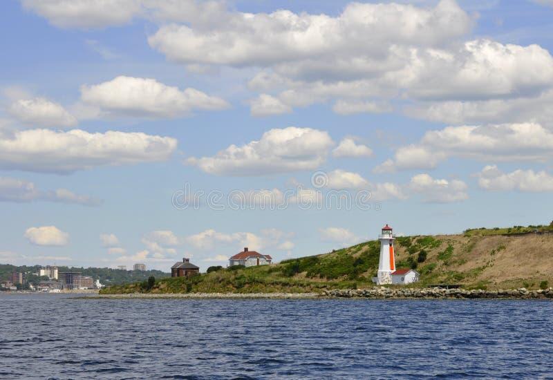 Georges Island, vuurtoren stock afbeelding