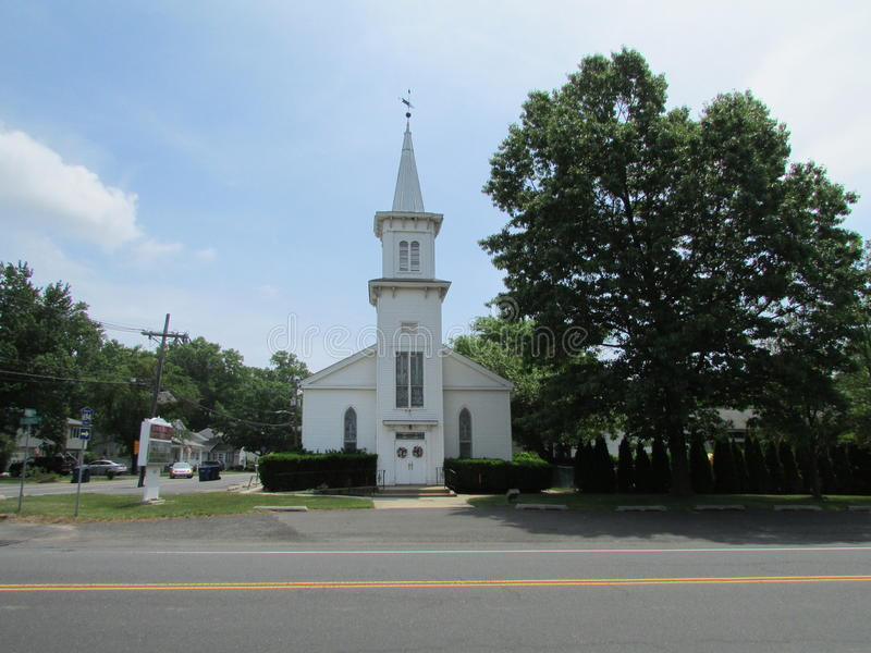 "Georges Road Baptist Church met vin in Noord-Brunswick, NJ, de V.S. Ð "" royalty-vrije stock afbeelding"