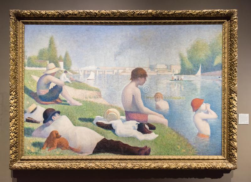 Georges Seurat painting, Swimming in Asnieres royalty free stock images