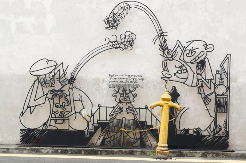 GEORGETOW, PENANG MALEZJA, Kwiecień, - 18, 2016: Druciana stalowa prącie sztuka wokoło George miasteczka terenu dziedzictwa stref obrazy stock