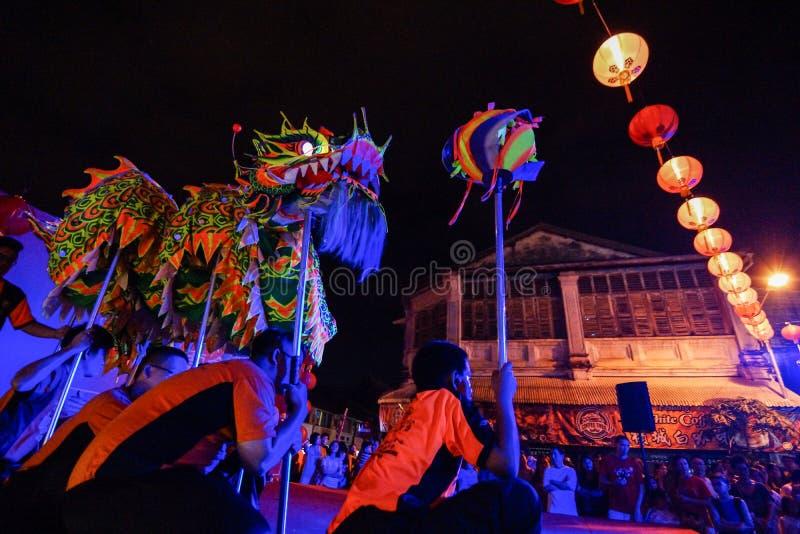 """GEORGETOWN, †de PENANG/MALAYSIA """"13 de fevereiro de 2016: Perf da dança do dragão imagens de stock"""