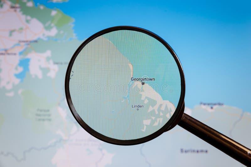 Georgetown, Guyana e mapa polityczny u zdjęcia stock