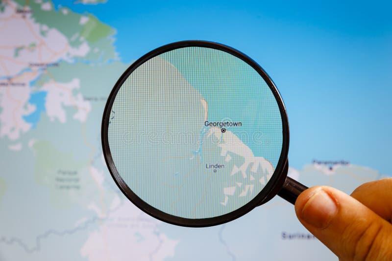 Georgetown, Guyana e mapa polityczny u zdjęcia royalty free