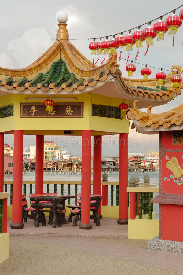 GEORGETOWN, MALAYSIA - JANUARY 18, 2016: a closeup view of Hean Boo Thean Kuanyin Chinese Buddhist temple in Clan Jetties. Built. GEORGETOWN, MALAYSIA - JANUARY royalty free stock photography