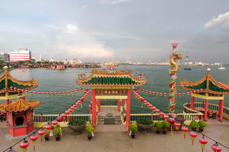 GEORGETOWN, MALAYSIA - MAY 29: closeup view of Hean Boo Thean Kuanyin Chinese Buddhist temple in Clan Jetties. Built on stilts over the harbor of George Town royalty free stock photo