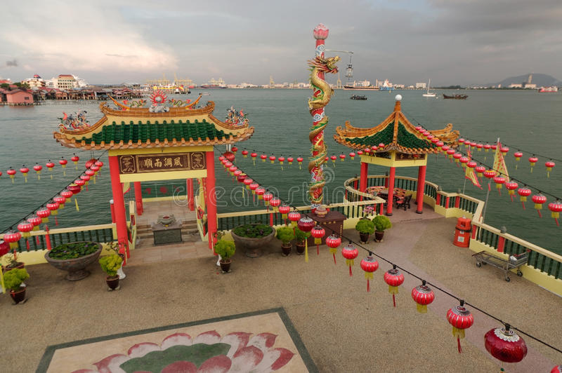 GEORGETOWN, MALAYSIA - NOVEMBER 18,2016: a closeup view of Hean Boo Thean Kuanyin Chinese Buddhist temple in Clan Jetties. GEORGETOWN, MALAYSIA - MAY 29 royalty free stock photos