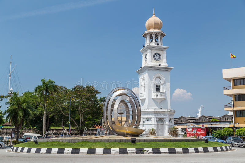 Georgetown, Penang/Malasia - circa octubre de 2015: Reina Victoria Memorial Clocktower en Georgetown, Penang, Malasia imagen de archivo