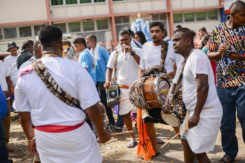 Music band of Kavadi bearer during Thaipusam Festival.. royalty free stock photography