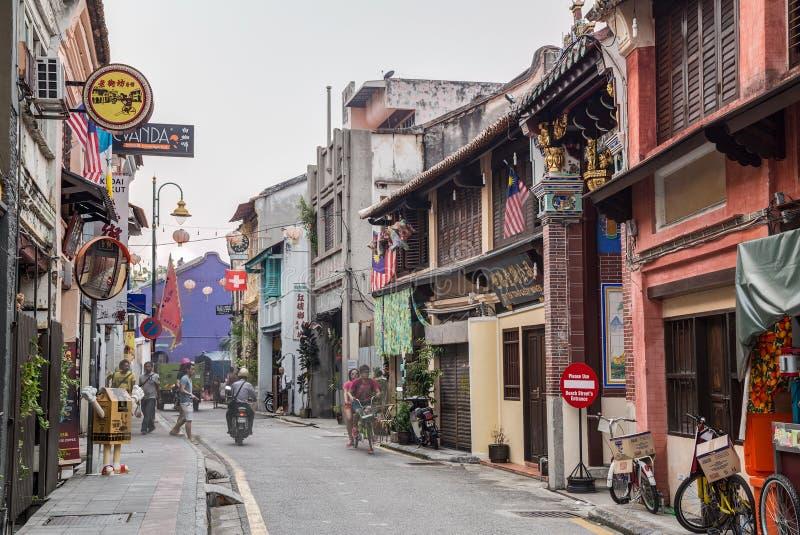 Georgetown Penang/Malaysia - circa Oktober 2015: Gamla gator och arkitektur av Georgetown, Penang, Malaysia arkivfoton
