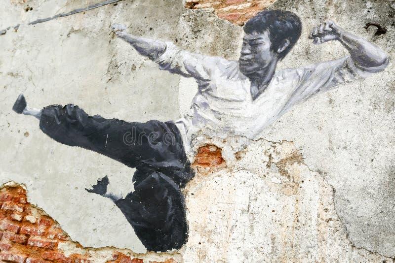 Georgetown Penang Malaysia gata Art Mural Bruce Lee arkivbild