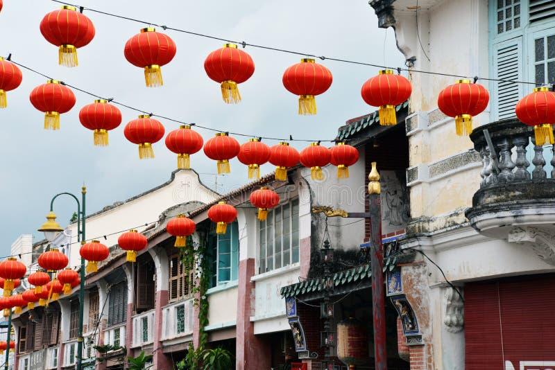 Georgetown penang, malaysia nytt år för kinesisk lykta arkivbild