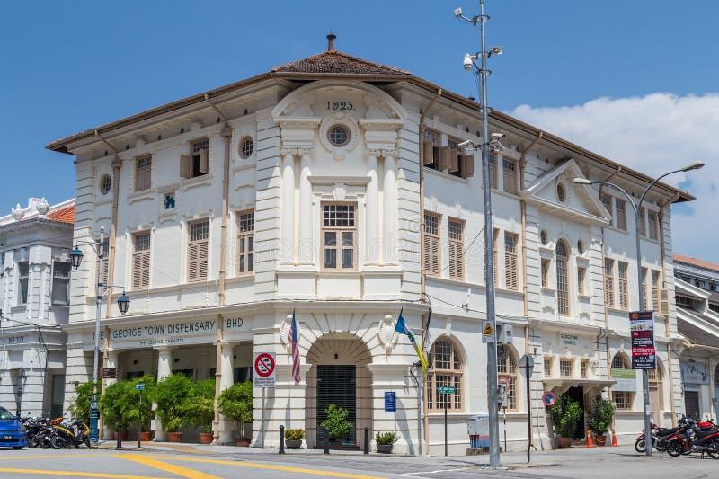 Georgetown, Penang/Maleisië - circa Oktober 2015: De Britse koloniale bouw in Georgetown, Penang, Maleisië royalty-vrije stock fotografie