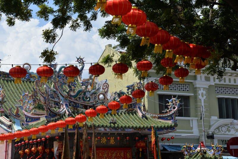 Georgetown, Penang, Malesia Lanterna cinese di nuovo anno fotografie stock libere da diritti