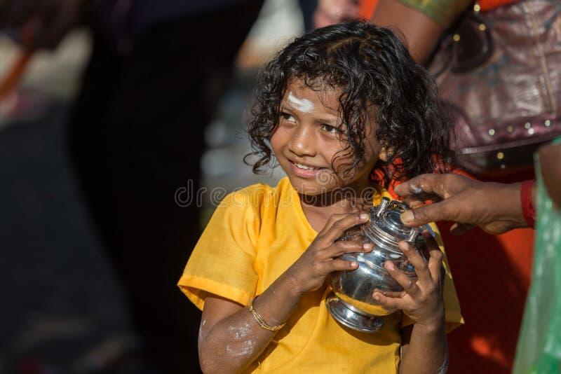 Georgetown, Penang, Malezja †'Styczeń 24, 2016: Hinduska dewotka zdjęcie royalty free