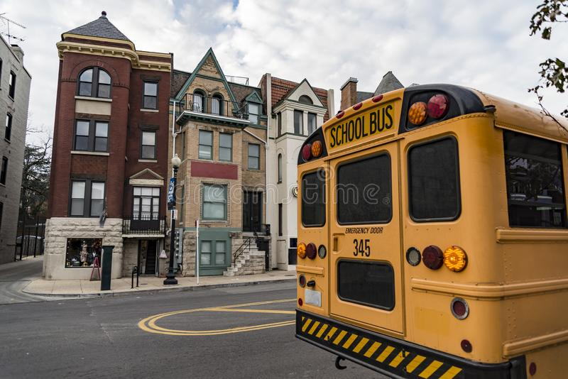Georgetown street view with a school bus stock photography