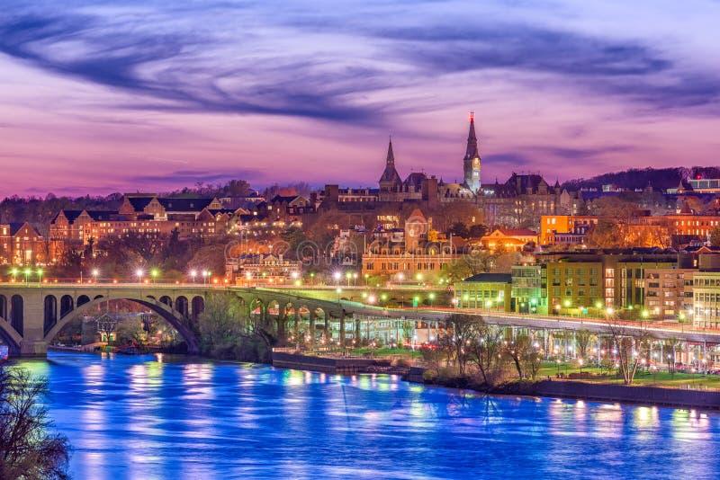 Georgetown Washington DC, USA på Potomacen arkivfoton